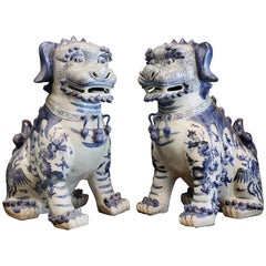 Pair Blue and White Chinese Foo Dogs Hand-Painted, Private Chinese Collection
