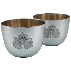 Victorian Pair of Sterling Silver Tumbler Cups, London, 1891