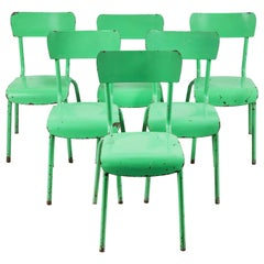 French Metal Green Painted Chairs
