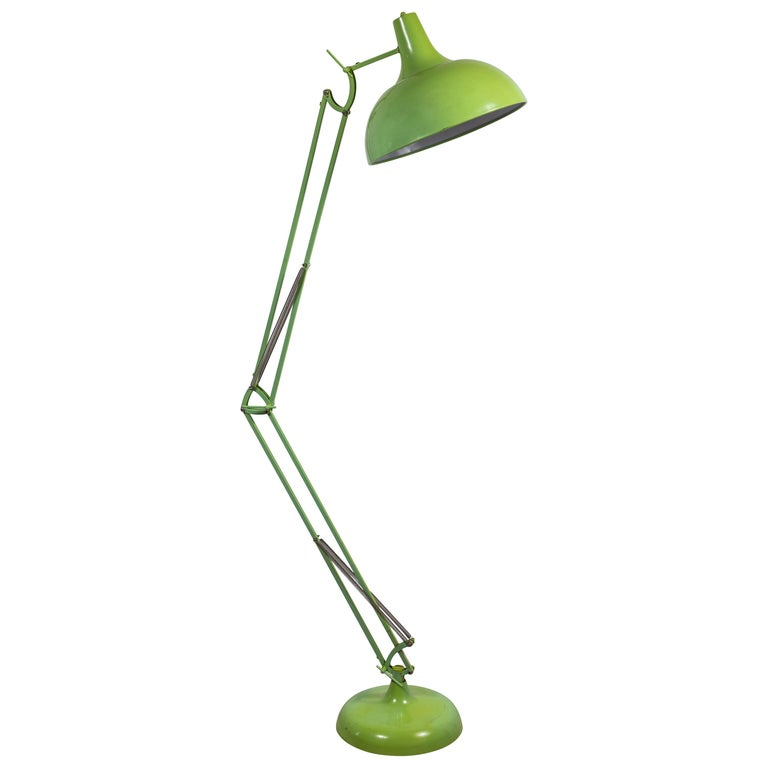 French Oversized Articulating Green Painted Floor Lamp For Sale