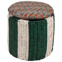 Green and White Painted Wicker Ottoman with Colorful Pillow Topped Cushion
