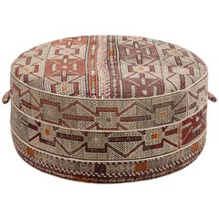 Nickey Kehoe Collection Large Round Ottoman Upholstered in Vintage Rug Textile