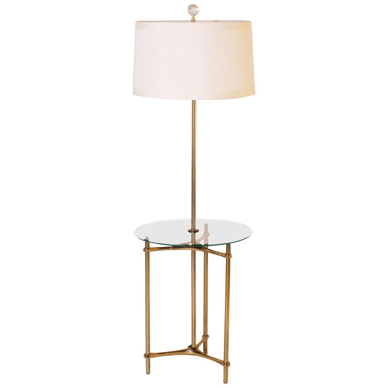 Bronze Floor Lamp with Glass Tray, circa 1960