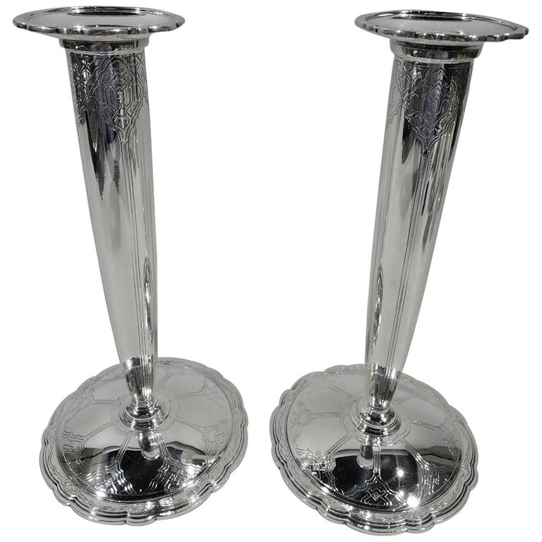 Pair of Tiffany & Co. Art Deco Sterling Silver Scalloped Candlesticks