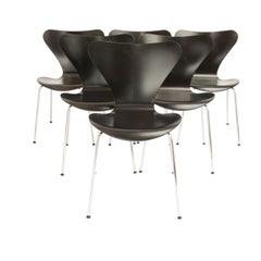 Arne Jacobsen Seven Dining Chairs Model 3107, Set of Six