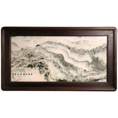 Ming Mountains Extraordinary Natural Stone Painting, One-of-a- Kind Custom Frame