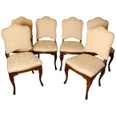 Set of Six Carved Walnut Italian Side Chairs, circa 1800