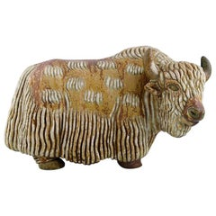 Very Large Rörstrand Stoneware Figure by Gunnar Nylund, Standing Musk Ox.