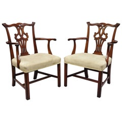 Pair of Vintage Solid Mahogany Chippendale Style Dining Chairs Armchairs