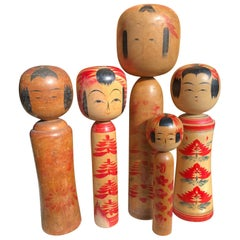 Family Five Old Japanese Famous Kokeshi Dolls, All Hand-Painted and Signed