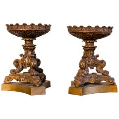 Pair of Antique French Napoleon Three Candlesticks in Bronze