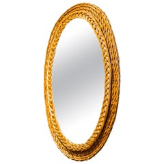 Woven Wicker Oval Mirror from France
