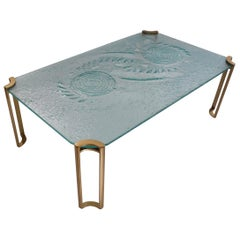 Peter Ghyczy Coffee Table, Brutalist Glass and Gold Lacquer, circa 1980s, Dutch