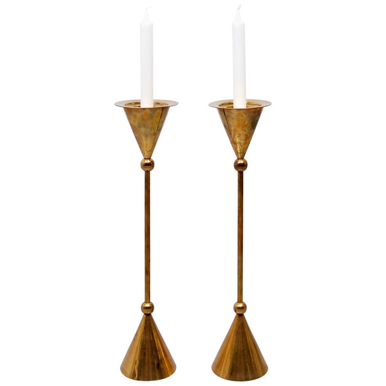 Pair of Tall Brass Floor Candle Holders, 1960s