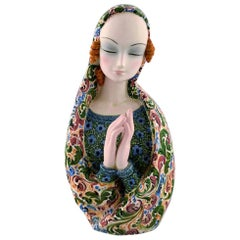 Teodoro Sebelin, Praying Madonna, Art Deco Ceramic Figure, Italy, 1930s