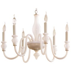 Hand Blown Glass Murano Chandelier of Interesting White Milk Glass