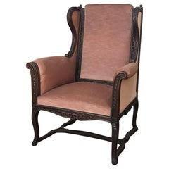 Grand 19th Century French Louis XVI Hand Carved Armchair Bergère with Mohair