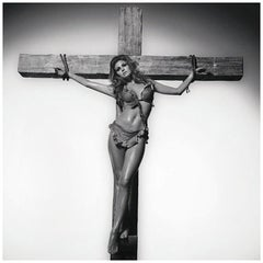 Terry O' Neill Black and White Photograph of Raquel Welch on the Cross, 1966