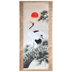 Japanese Old and Bold Hand-Painted Brilliant Cranes & Sun Silk Scroll, Wood Box