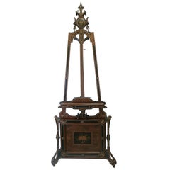 Fine Victorian Carved Walnut Adjustable Easel