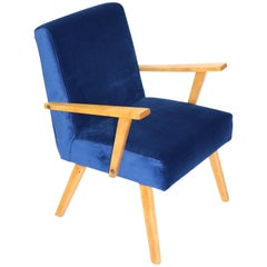 Vintage Armchair in Blue Velvet from 1970s