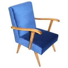 Vintage Armchair in Blue Velvet from 20 Century