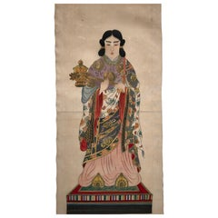 Japanese Antique Hand-Painted Kanon Guan Yin Silk Painting, Brilliant Colors