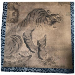 Japanese Antique Bold Hand-Painted Tiger Silk Painting, 19th Century