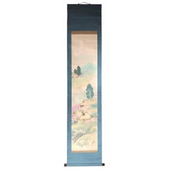 Mountain Minka Cottages Japanese Antique Hand-Painted Silk Scroll, Meiji