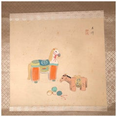 """Japanese Antique Hand Painted Ancient """"Two Horses"""" Silk Scroll, Meiji Period"""