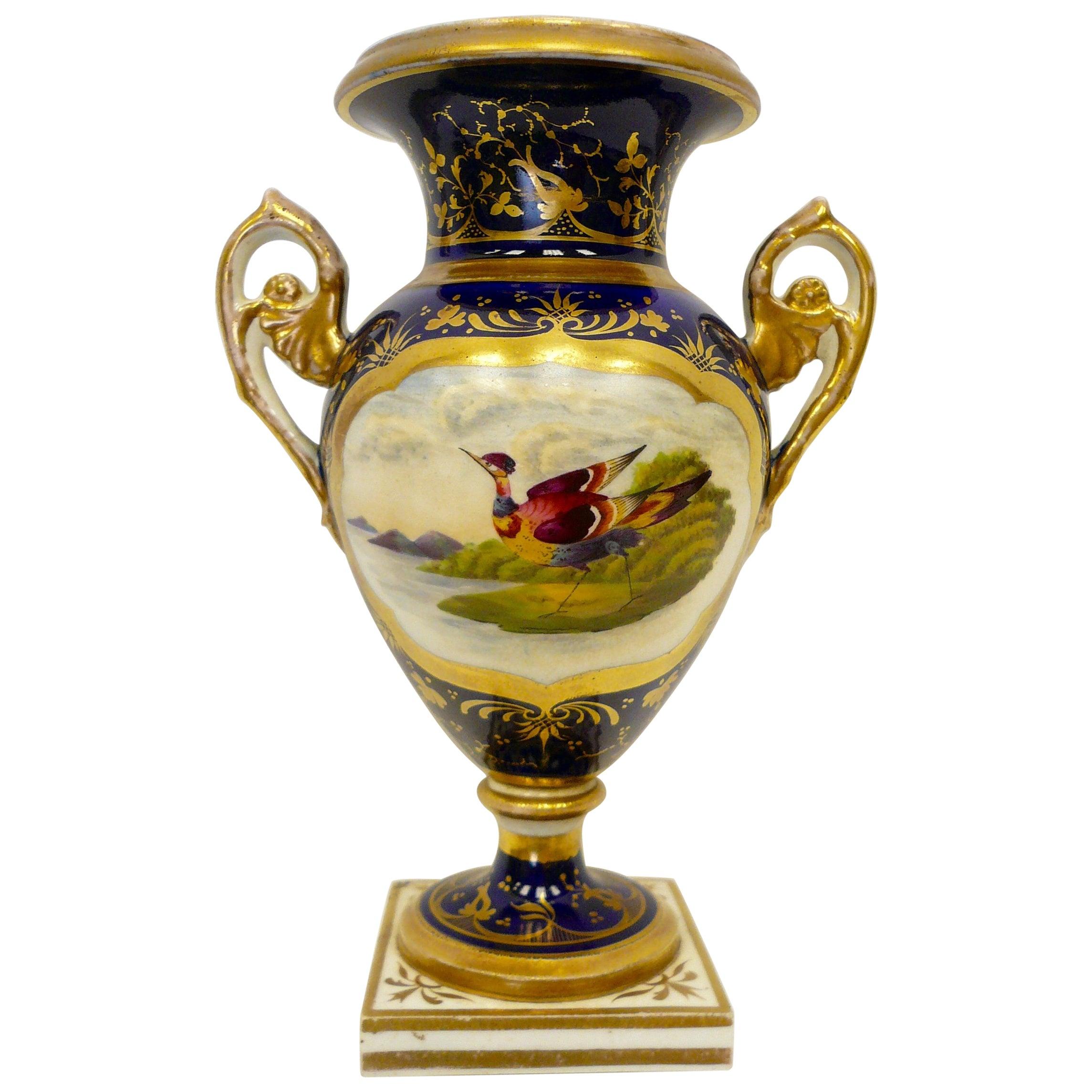 Derby Porcelain Hand-Painted Urn Form Vase