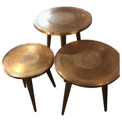 Nest of Three Mid-Century Modern Style Brass Decorative End or Nest of Tables
