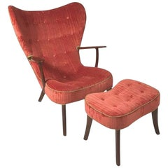 """Danish """"Pragh"""" Armchair with Footstool by Madsen and Schubell"""