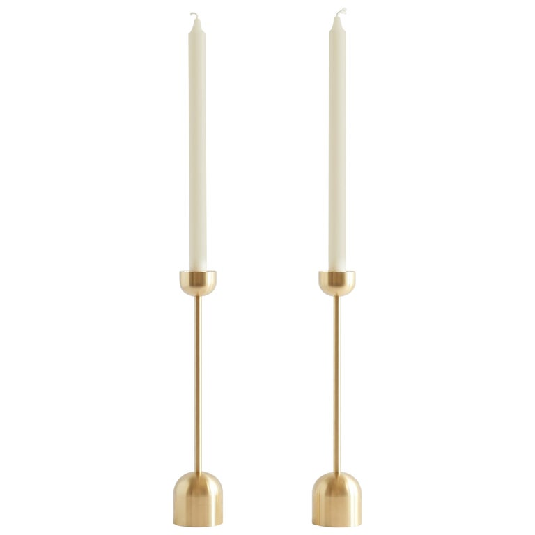 Large Contemporary Brass Dome Spindle Candleholders by Fort Standard, in Stock