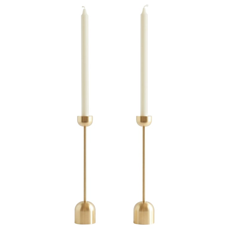 Small Contemporary Brass Dome Spindle Candleholders by Fort Standard in Stock