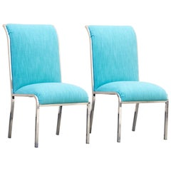 Pair of Chrome Dining Chairs by Milo Baughman for Design Institute of America