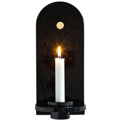Black Granite Stone Candle Sconce by Fort Standard, in Stock