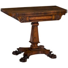 English Regency Antique Rosewood Carved Game Card Table, circa 1825