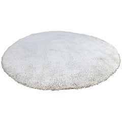 Large High Pile Large Round Wool Rug
