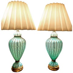 Murano Caged Turquoise Quilted Marbro Lamps, Pair