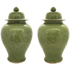 Pair of Large Antique Chinese Celadon Lidded 19th Century Vases