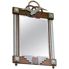 Art Deco Mirror with Wood and Aluminium Frame