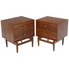 Diamond Pattern Cube Shape Walnut End Tables Stands Solid Sculptural Legs, Pair