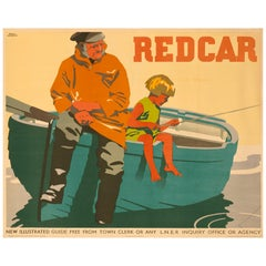 Original Frank Newbould 1932 British Rail Poster for Redcar Horizontal Format