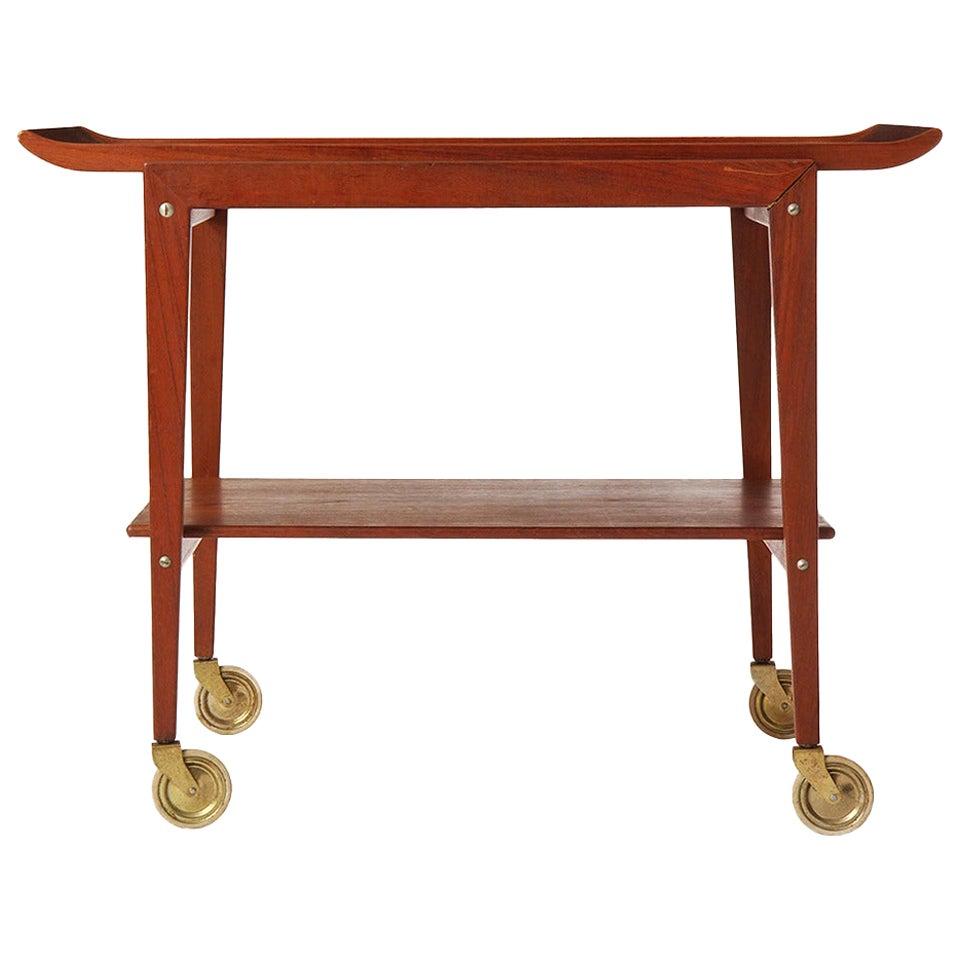 Two-Tiered Danish Modern Teak Cart