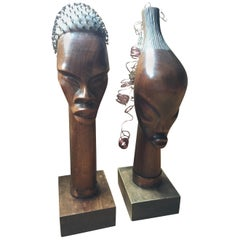 Midcentury Signed Hatian Carved Wood Busts, Pair