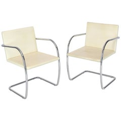 Pair of Thin Pad Tubular Brno Knoll Cream Leather Chairs Midcentury Bauhaus
