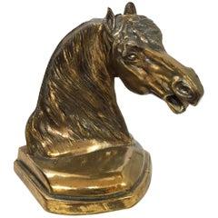 Cast Brass Sculpture of Horse Head Bust