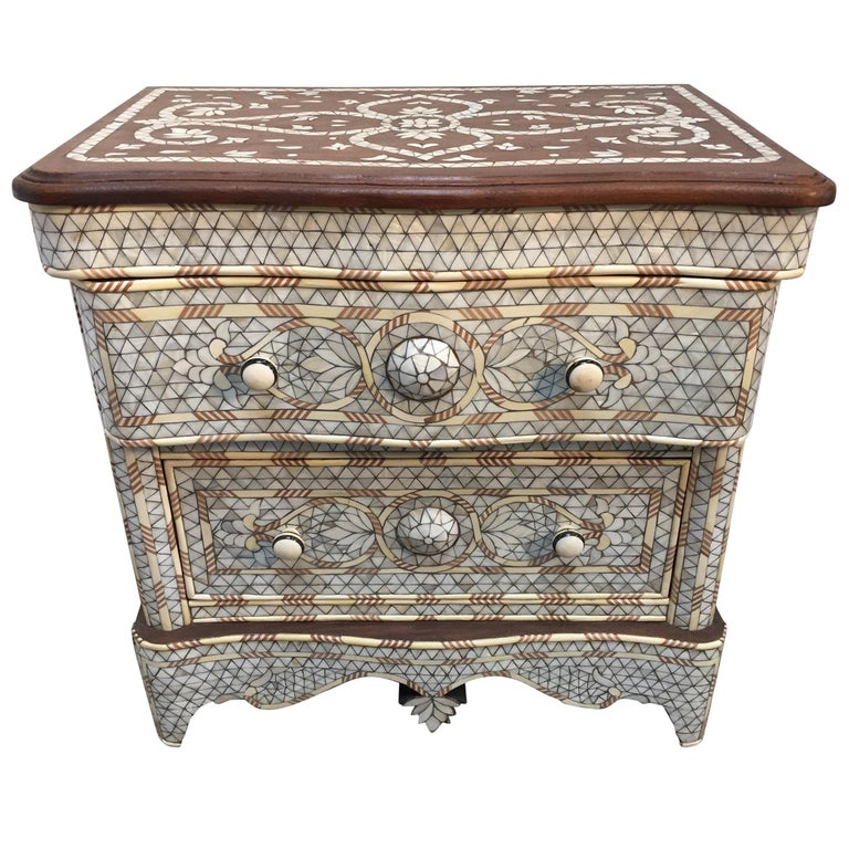 Syrian Middle Eastern White Mother-of-Pearl Inlay Wedding Dresser