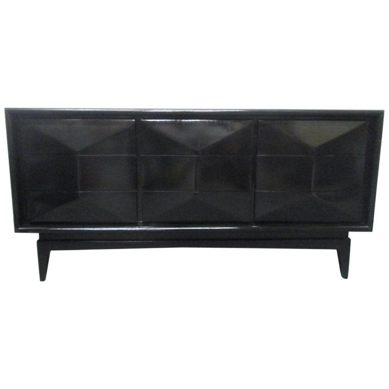 Midcentury Modern Black Lacquered Diamond Dresser